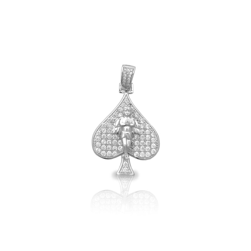 Stoneset Ace of Spade Baby Angel Pendant (Silver) Popular Jewelry New York