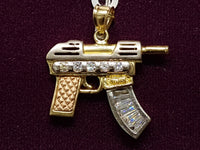 Sub Machine Gun SMG Pendant Tricolor 14K - Popular Jewelry