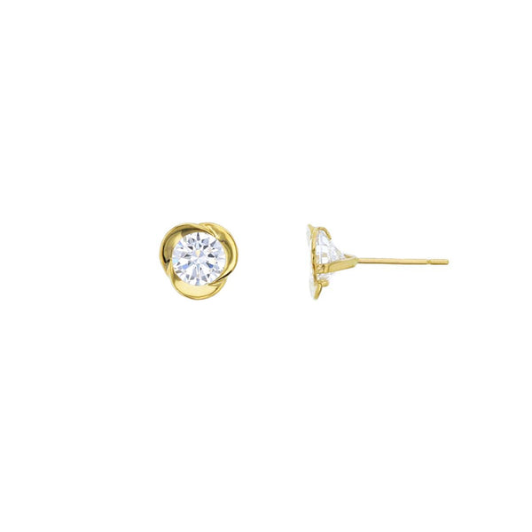 Swirl Flower CZ Stud Earrings (14K)