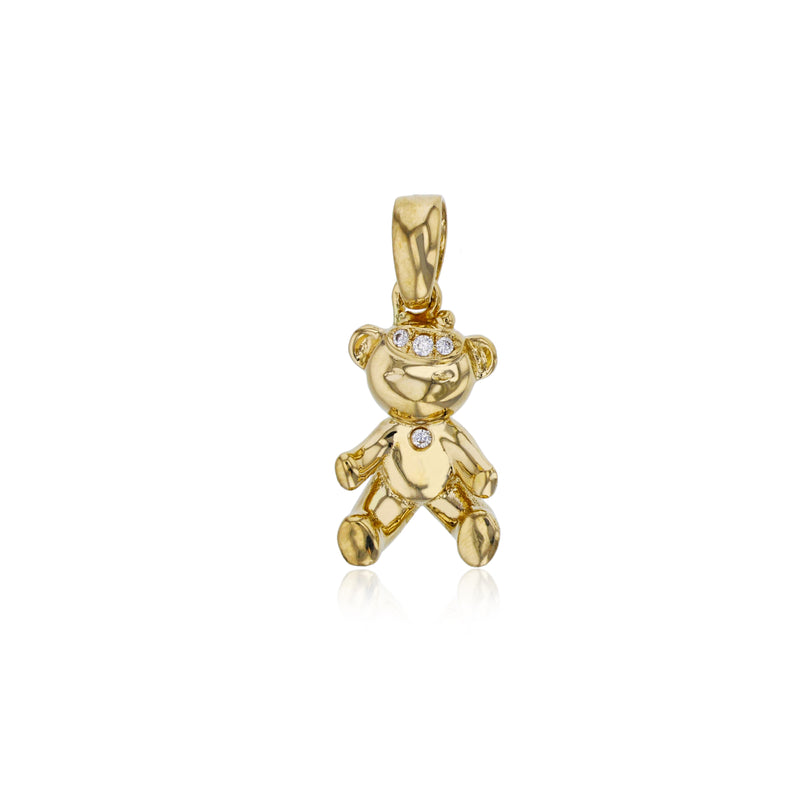 Yellow Gold CZ Teddy Bear Pendant (14K)