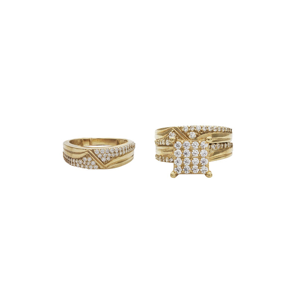 Square Three-Piece-Set Ring (10K)