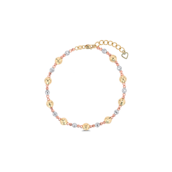 Tricolor Diamond Cut Beaded Bracelet (14K)