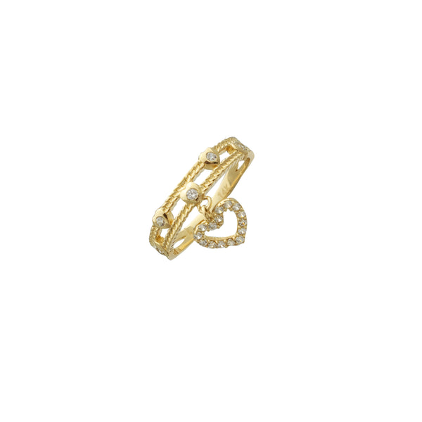 Two-Row band with Dangling Heart Ring (14K)