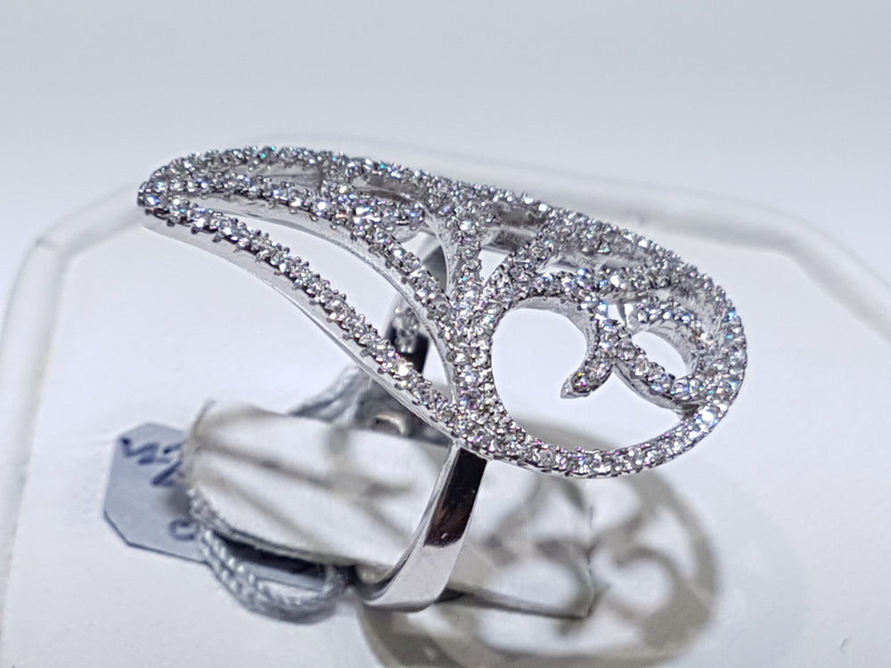 Fancy Teardrop Pave Cocktail Ring CZ Silver - Popular Jewelry