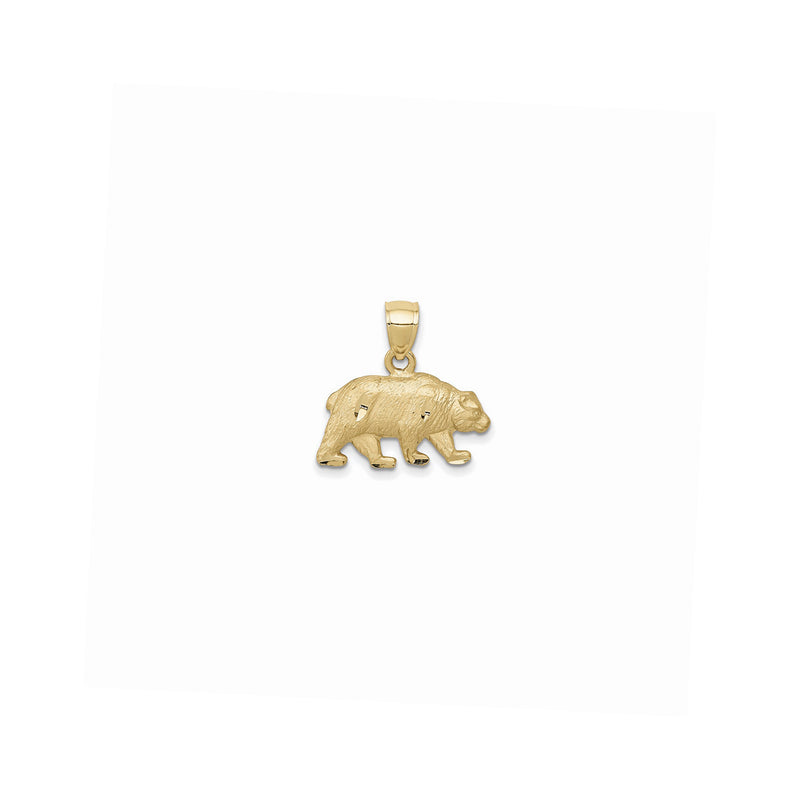 Texture Diamond Cuts Bear Pendant (14K) Popular Jewelry New York