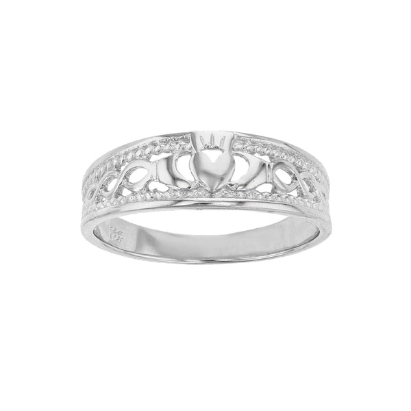 Textured Claddagh Band Ring (Silver) Popular Jewelry New York