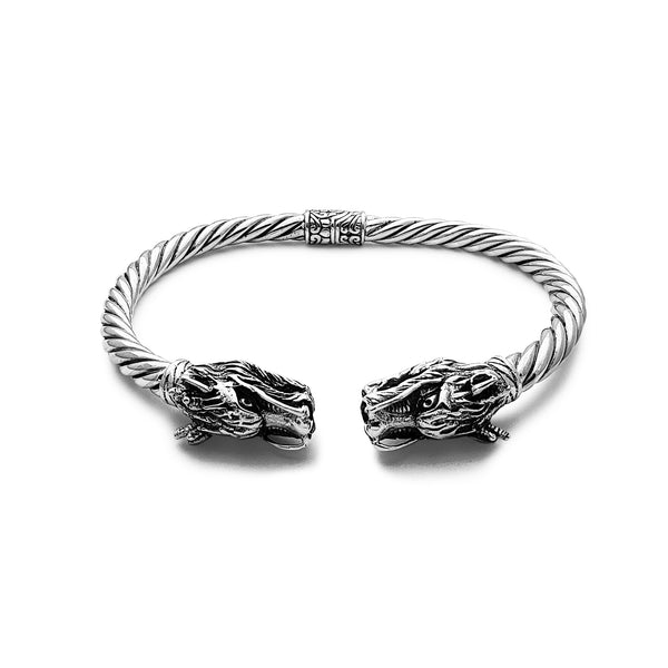 Textured Dragon Head Twisted Bangle Bracelet (Silver) Popular Jewelry New York