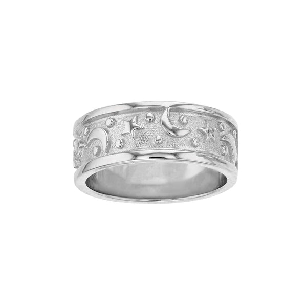 Textured Moon & Stars Band Ring (Silver) Popular Jewelry New York