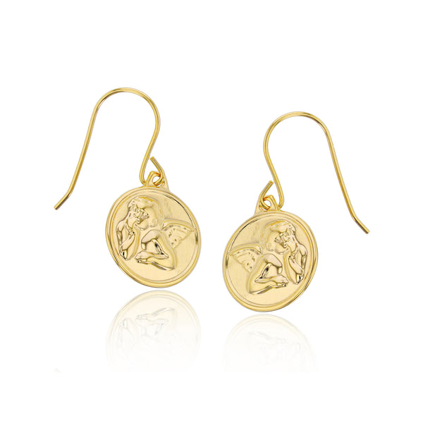 Thoughtful Baby Angel Hanging Earrings (14K) Popular Jewelry New York