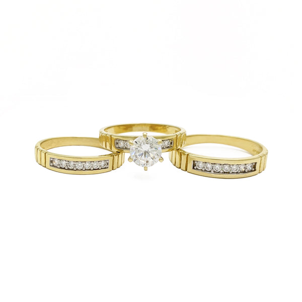 Seta-Rings Cut-Ribbed Engagement Set (14K) front - Popular Jewelry - Nûyork