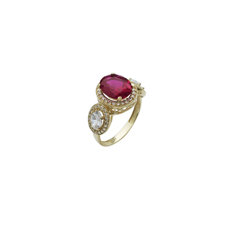 Three Stone CZ Ring 3 (14K)