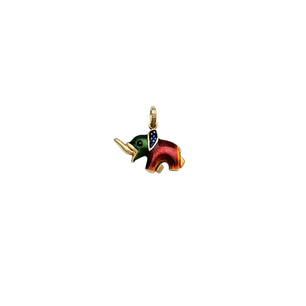 Tiny Colored Elephant Pendant (14K)