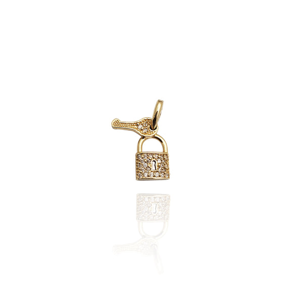 Tiny Key and Lock CZ Pendant (14K)