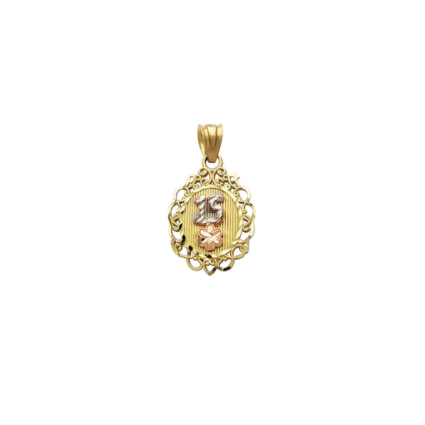 Tri-Color 15 Quinceaños Filigree Oval Pendant (14K) Popular Jewelry New York