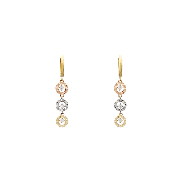 Tri-Color Circle Drop Earrings (14K) Popular Jewelry New York