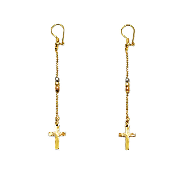 Tri-Color Cross & Ball Dangling Earrings (14K)