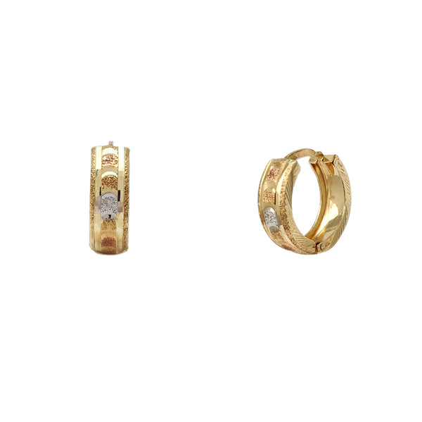 Tri-Color Diamond Cuts Huggie Earrings (14K) Popular Jewelry New York
