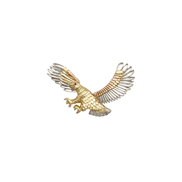 Tri-Color Eagle Pendant (14K)