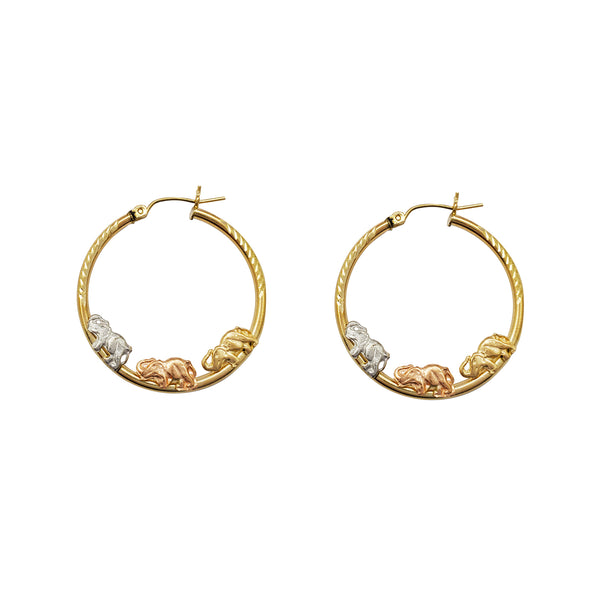 Tri-Color Elephant Hoop Earrings (14K) Popular Jewelry New York
