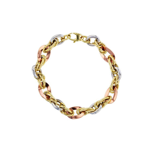 Tri-Color Fancy Rope Bracelet (14K)