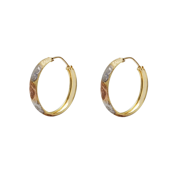 Tri-Color Heart Sandblasted Hoop Earrings (14K) Popular Jewelry New York