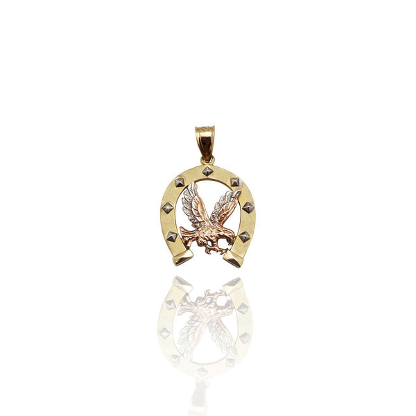 Tri-Color Horseshoe Eagle Pendant (14K)