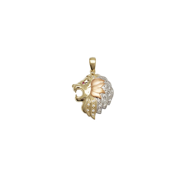 Tri-Color Lion Head CZ Pendant (14K)