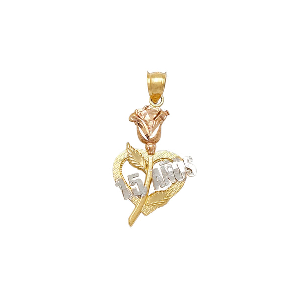 Tri-Color Love Rose & Vines Quinceañera Pendant (14K) Popular Jewelry New York