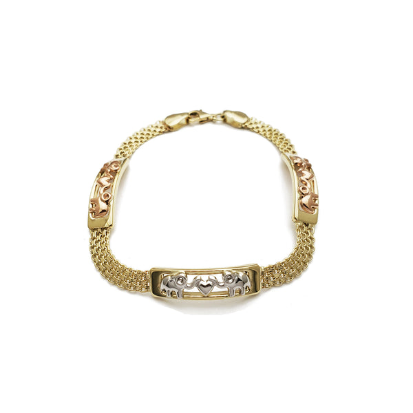 Tri-Color Paired Elephant Bismark Bracelet (14K)