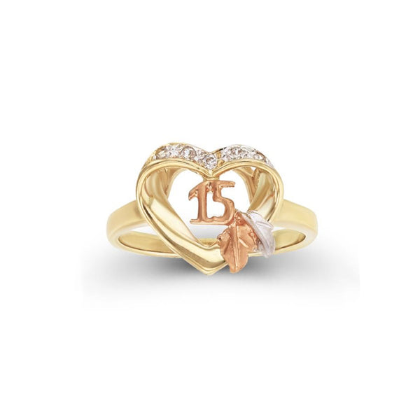 Tri-Color Quinceañera Heart Shape Ring (14K) Popular Jewelry New York