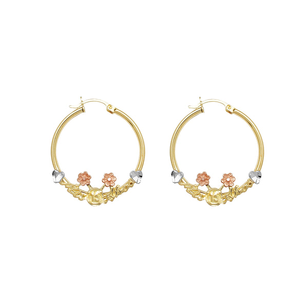 Tri-Color Quinceañera Hoop Earrings (14K) Popular Jewelry New York