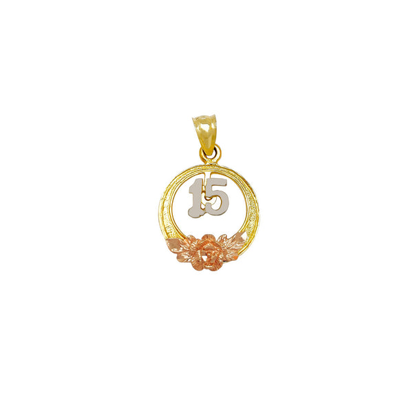 Tri-Color Circle Rose & Leaves Quinceañera Pendant (14K)
