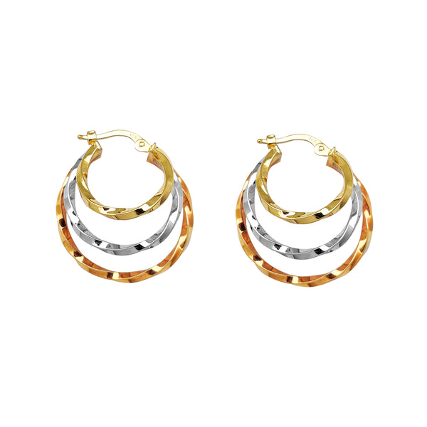 Tri-Color Twist Hoop Earrings (14K) Popular Jewelry New York