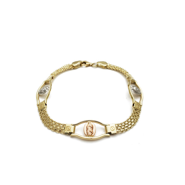 Tri-Color Virgin Mary Bismark Bracelet (14K)