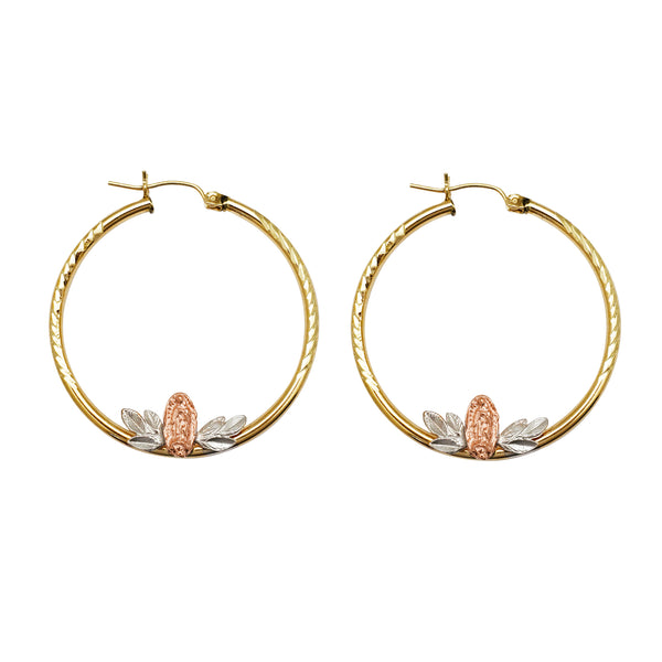 Tri-Color Virgin Mary Hoop Earrings (14K) Popular Jewelry New York