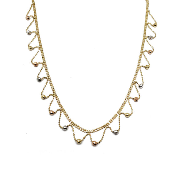 Tri-Color Wavy Rain Beads Fancy Necklace (14K)