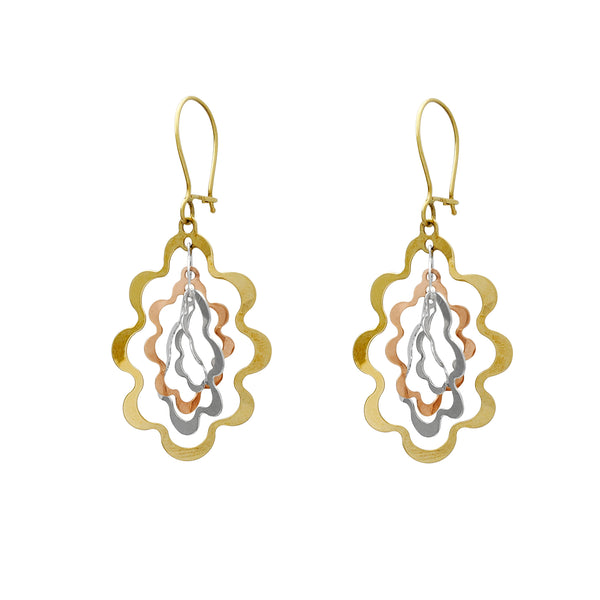Tri-Color Wavy Drop Earrings (14K) Popular Jewelry New York