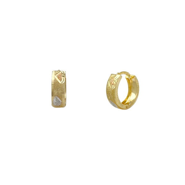 Tri-Color Zig Zag Diamond Cuts Huggie Earrings (14K) Popular Jewelry New York