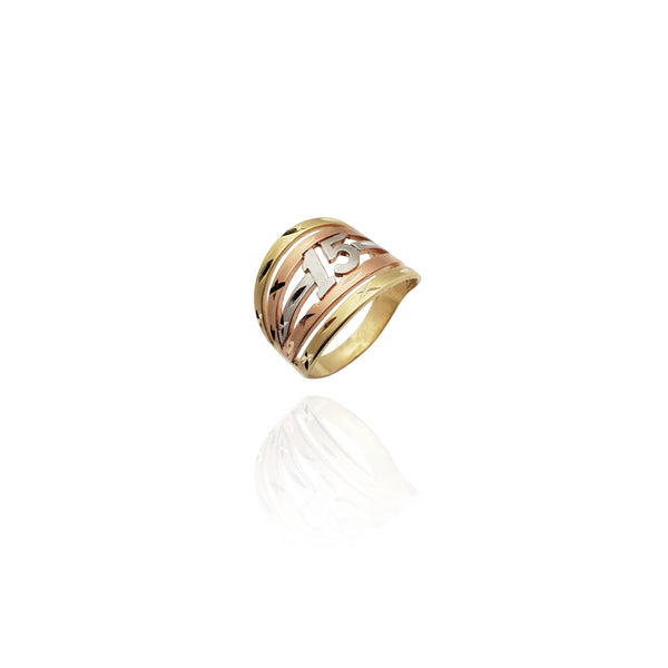 Bague multicolore 15e anniversaire tricolore (14K) New York Popular Jewelry