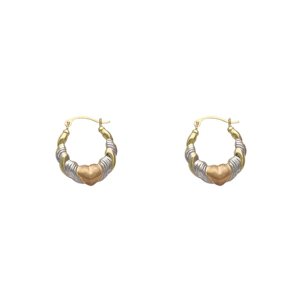 Tri-Tone Heart Hoop Earrings (14K) Popular Jewelry New York