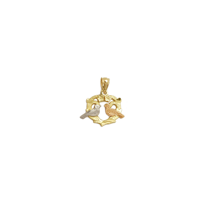 Tri-Tone Lovely Birds Pendant (14K) Popular Jewelry New York