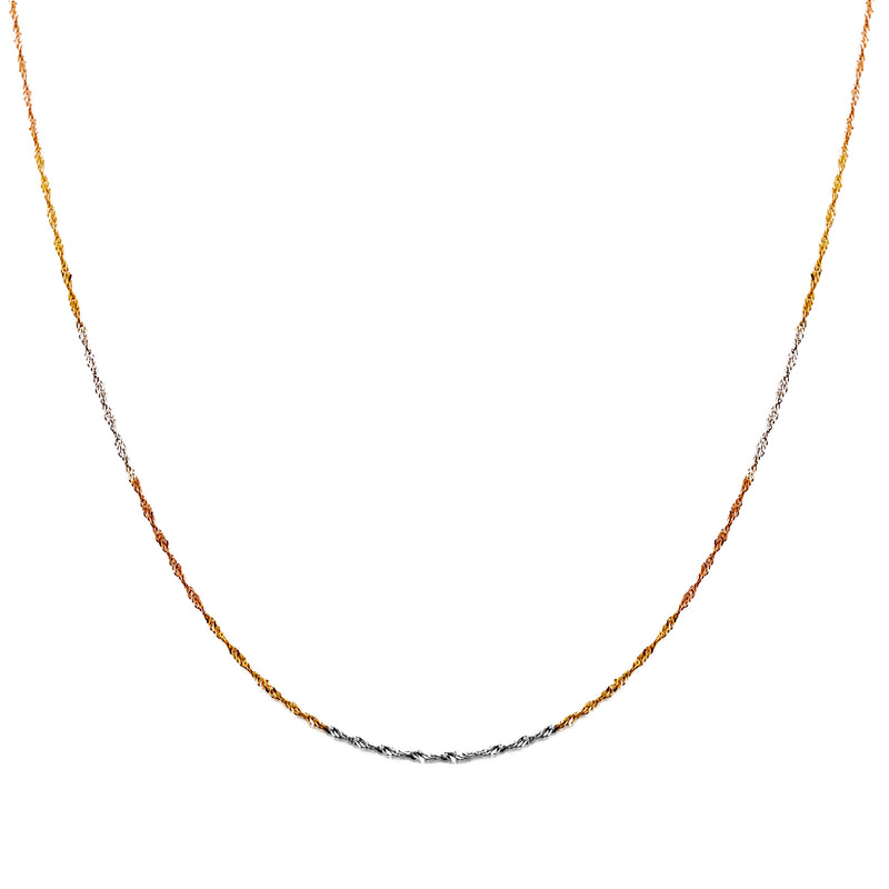 Tri-Tone Lightweight Singapore Chain (14K)