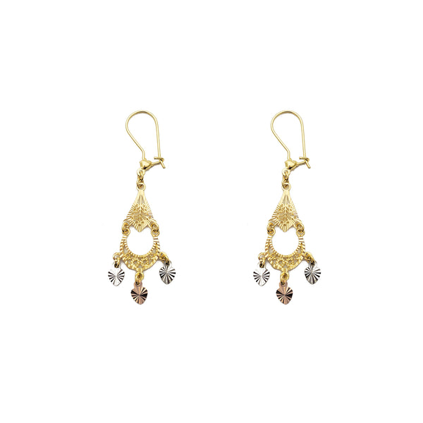 Tricolor 3-Hearts Chandelier Dangling Earrings (14K) Popular Jewelry New York
