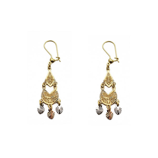 Tricolor 3-Hearts Filigree Chandelier Dangling Earrings (14K) Popular Jewelry New York