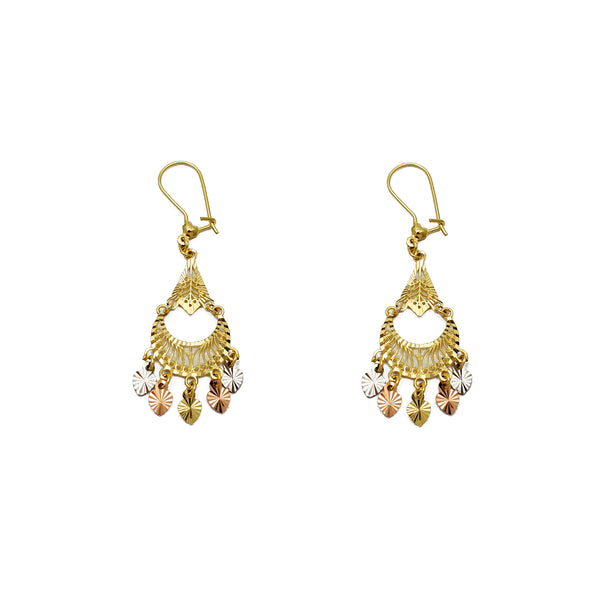 Tricolor 5-Hearts Chandelier Dangling Earrings (14K) Popular Jewelry New York
