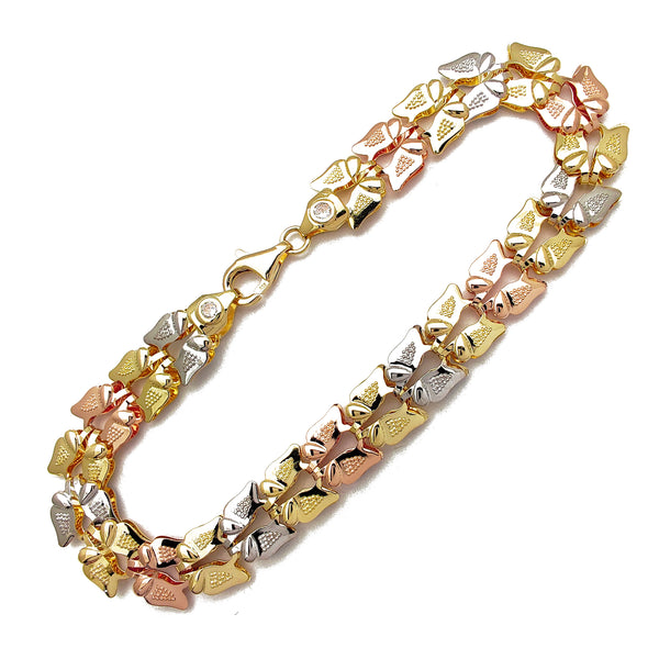 Tricolor Butterfly Fancy Bracelet (14K) Popular Jewelry New York