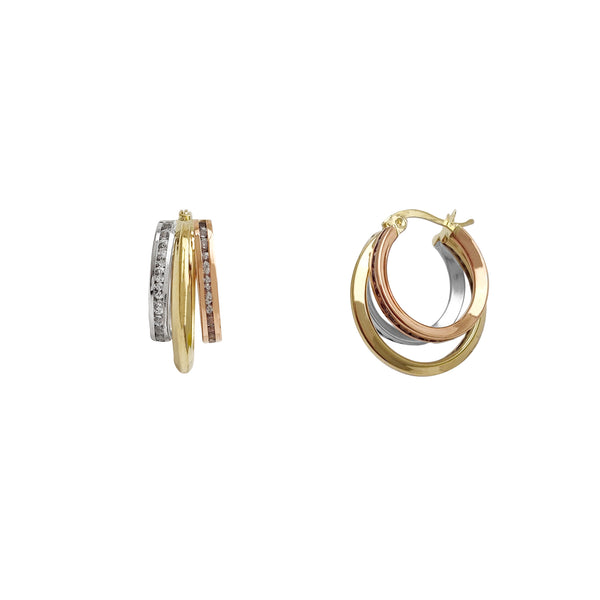 Tricolor Channel Setting Trio-Hoops Earrings (14K) Popular Jewelry New York