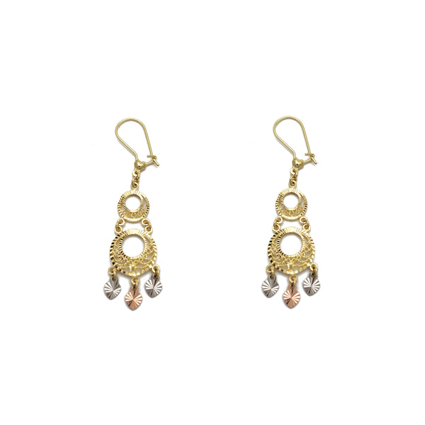 Tricolor Diamond-Cuts Chandelier Dangling Earrings (14K) Popular Jewelry New York