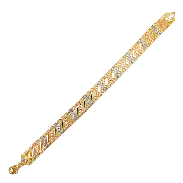 Tricolor Diamond Cuts S-Link Edged Fancy Bracelet (14K)