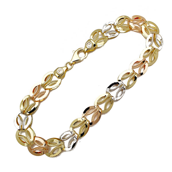 Tricolor Milgrain Round Fancy Bracelet (14K) Popular Jewelry New York